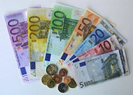 german euro bills and coins